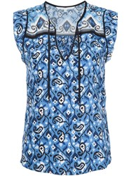 Veronica Beard Printed Sleeveless Blouse Blue