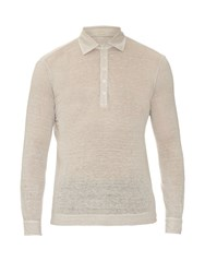 Massimo Alba Long Sleeved Linen Polo Shirt Beige