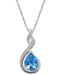 Macy's Blue Topaz 2 1 4 Ct. T.W. And Diamond Accent Infinity Pendant Necklace In Sterling Silver