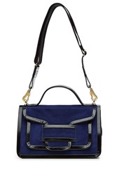 Pierre Hardy Suede Shoulder Bag With Patent Leather Trim Blue