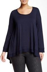 Final Touch Asymmetric Long Sleeve Tunic Tee Plus Size Blue