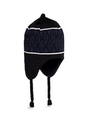 Burton Ear Flap Diamond Intarsia Beanie Black