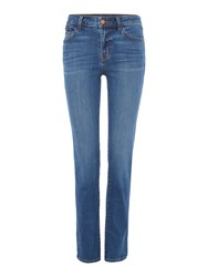 J Brand Amelia Mid Rise Straight Jeans In Syndicate Denim Mid Wash