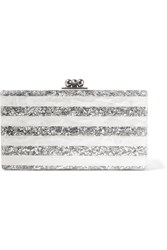 Edie Parker Jean Striped Glittered Acrylic Box Clutch White White Silver