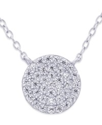 Studio Silver Cubic Zirconia Circle Pendant Necklace 2 3 Ct. T.W. In Sterling Silver