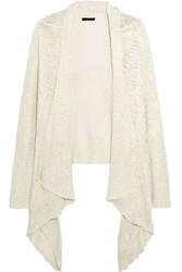 Donna Karan Draped Open Knit Silk Cardigan White