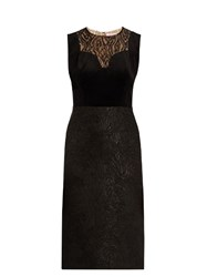 Lanvin Lace Panelled Velvet Dress Black