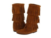 Minnetonka Calf Hi 3 Layer Fringe Boot Brown Suede Women's Pull On Boots