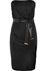 Gucci Strapless Belted Satin Jersey Dress