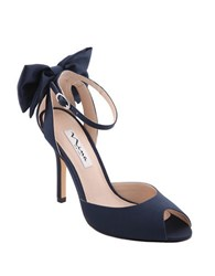 Nina Martina Ankle Bow Peep Toe Pumps Navy Blue
