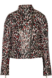 Mcq By Alexander Mcqueen Leopard Print Leather Jacket Red