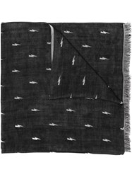 Neil Barrett Lightning Bolt Scarf Black