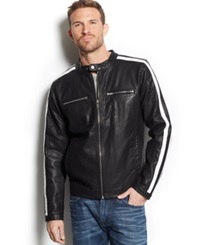 Guess Striped Faux Leather Moto Jacket Black