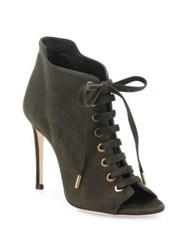 Jimmy Choo Suede Peep Toe Lace Up Booties Army Green