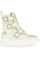 Alexander Mcqueen Studded Leather Exaggerated Sole High Top Sneakers White