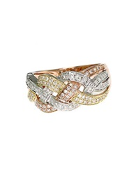 Effy Trio 14Kt Tri Gold Braided Diamond Ring