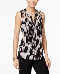 Inc International Concepts Petite Printed Pintucked Shirt Only At Macy's Ghost Bouquet