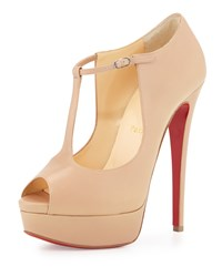 Christian Louboutin Alta Poppins T Strap Red Sole Pump Nude Brown