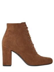 Saint Laurent 90Mm Babies Lace Up Suede Ankle Boots