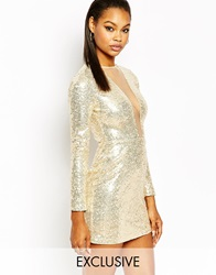Rare Plunge Neck Long Sleeve Bodycon Dress In All Over Sequin Gold