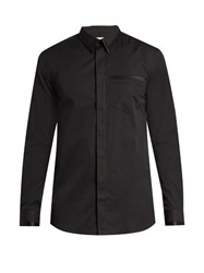 Givenchy Cuban Fit Silk Satin Trimmed Cotton Poplin Shirt Black
