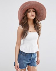 Asos Oversized Straw Hat With Crochet Insert Pink