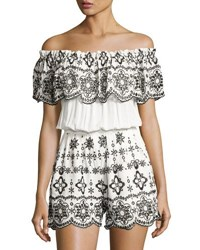 Parker Julie Embroidered Off The Shoulder Romper White Pattern