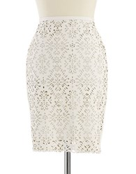 424 Fifth Petite Faux Leather Laser Cut Pencil Skirt Gardenia