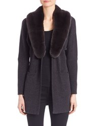 Saks Fifth Avenue Rex Rabbit Fur Trim Wool And Cashmere Cardigan Charcoal