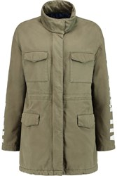 Love Moschino Appliqued Cotton Twill Jacket Green