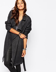Religion Cheat Drape Front Wool Coat With Belt Charcoalherringbone