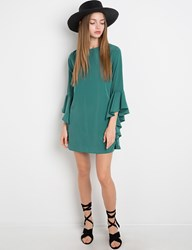 Pixie Market Green Ruffled Bell Sleeve Dress By New Revival