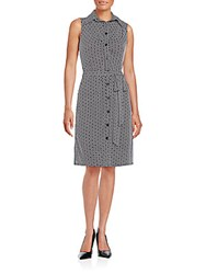 Laundry By Shelli Segal Printed Jersey Knit Shirtdress Black White