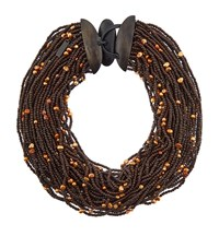 Eskandar Multistrand Coco Beads And Pearl Necklace Female Brown