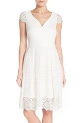 Ivanka Trump Women's Cap Sleeve Lace Fit And Flare Dress