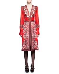 Alexander Mcqueen Plunging V Neck Paisley Print Sateen Dress Red