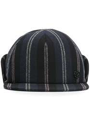 Maison Michel Striped Cap Blue