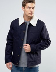 Esprit Denim Jacket With Borg Collar And Check Lining Navy 400