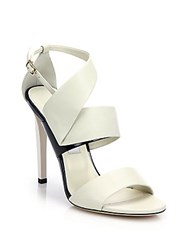 Jimmy Choo Trapeze Asymmetrical Leather And Patent Leather Sandals Off White
