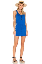 Bobi Supreme Jersey Tie Front Tank Dress Blue