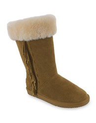 Minnetonka Canyon Suede And Sheepskin Lined Mid Calf Boots Tan