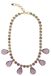 Bounkit Green Crystal And Amethyst Necklace