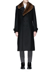 Wooster Lardini Mink Fur Collar Double Face Wool Coat Black