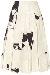 Donna Karan Printed Cotton Faille Midi Skirt