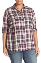 Caslonr Plus Size Women's Caslon Long Sleeve Plaid Shirt Ivory Burgundy Plaid