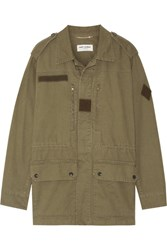 Saint Laurent Cotton And Linen Blend Gabardine Jacket Army Green