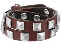 Rebecca Minkoff Double Row Leather Bracelet With Pyramid Studs Tawney Port Rhodium Bracelet Brown