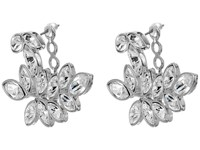 Kenneth Jay Lane Silver Crystal Leaf Post Ear Jcket Earrings Silver Crystal Earring