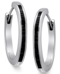 Macy's Sterling Silver Earrings Black Diamond Baguette Hoop Earrings 1 2 Ct. T.W.