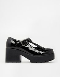 Truffle Collection Truffle Platform Kiltie Heeled Shoes Black